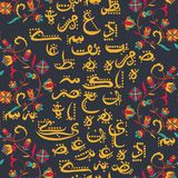 Seamless pattern with arabic calligraphy and arabesque. Design concept for muslim community festival Eid Al Fitr. Translation: thank god. Vector illustration Royalty Free Stock Photos