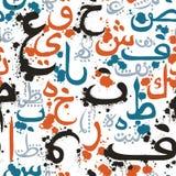 Seamless pattern with Arabic calligraphy. Design concept for muslim community festival Eid Al Fitr. Eid MubarakTranslation: thank god. Vector illustration Stock Images