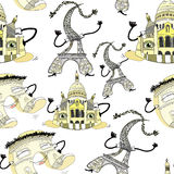 Seamless pattern Arc de Triomphe, Cathedral, Eiffel Tower in Par Royalty Free Stock Photography
