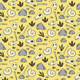 Seamless pattern with archaeological excavations in cartoon style Stock Photos