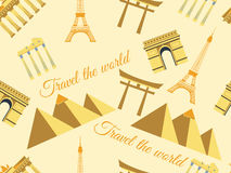 Seamless pattern with architectural monuments from different countries. Vector Royalty Free Stock Photos