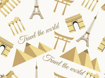 Seamless pattern with architectural monuments from different countries. Vector illustration. Stock Photo