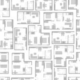 Seamless pattern with architectural projects of apartment and furniture.
