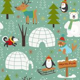 Seamless pattern with arctic animals Royalty Free Stock Image
