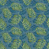 Layered seamless pattern with tropical palm leaves Stock Images