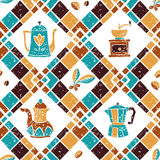 Seamless pattern Argyle and Coffeepots Royalty Free Stock Photo