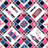 Seamless pattern Argyle and English Symbols Royalty Free Stock Photos