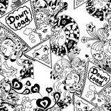 Seamless pattern with arrow down load and  doodle monsters Stock Image