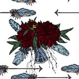 Seamless pattern with arrow and peony bouquet. royalty free illustration