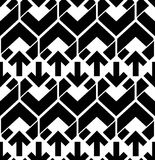 Seamless pattern with arrows, black and white infinite geometric Stock Photography