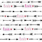 Seamless pattern with arrows and hearts for Valentine`s Day. Vector illustration. Seamless pattern with arrows and hearts for Valentine`s Day. Handwritten Royalty Free Stock Images