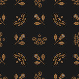Seamless pattern Art Deco, Elegant gold roses and curls Royalty Free Stock Photography