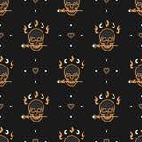 Seamless pattern Art Deco Elegant gold skull, heart Vector background Stock Image