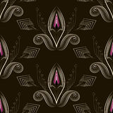 Seamless pattern art deco graphic ornament. Floral stylish backg Stock Photo