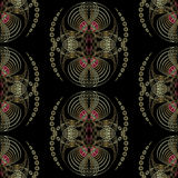 Seamless pattern art deco graphic ornament. Floral stylish  Stock Photo