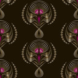 Seamless pattern art deco graphic ornament. Floral stylish monoc Stock Photography
