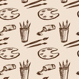 Seamless pattern art tools  .Hand drawing Stock Photography