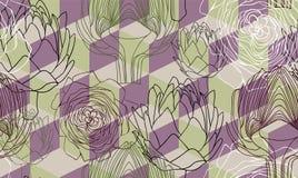 Seamless pattern with the artichoke symbol. Stock Photo