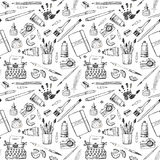 Seamless pattern with artist and writer tools. Royalty Free Stock Photography
