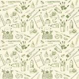 Seamless pattern with artist and writer tools. Stock Images