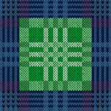 Seamless pattern as a knitted fabric in blue and green Stock Photography