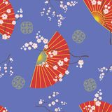 Seamless pattern with Asian fans and cherry blossoms. vector illustration