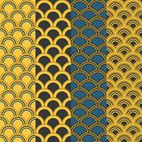 Seamless pattern in Asian style. Fish scale and wave Stock Photo