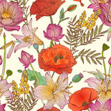 Seamless pattern - assorted flowers Royalty Free Stock Photography
