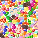 Seamless pattern of assorted sweet candies. Vector illustration Royalty Free Stock Photos