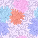 Seamless pattern with aster flowers and abstract floral swirls Royalty Free Stock Images