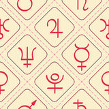 Seamless pattern with astrology symbols planets Royalty Free Stock Photography