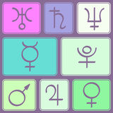 Seamless pattern with astrology symbols planets Royalty Free Stock Image