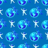 Seamless Pattern of Astronaut Fly in Outer Space. Seamless Pattern. Astronaut Fly in Outer Space. Satellite Spaceship Station Orbiting Earth on Blue Gradient stock illustration