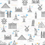 Seamless pattern of the attractions of the world Royalty Free Stock Photo