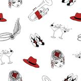 Seamless pattern with attributes of 1920s - pearl headband with feather, hat, shoes, cocktails, trumpet. Vector. Illustration in black, white and red colors for Royalty Free Stock Image