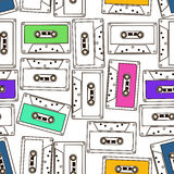 Seamless pattern of audio cassette tapes Royalty Free Stock Photography