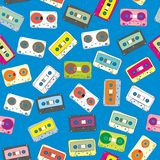 Seamless pattern audio cassettes Stock Images