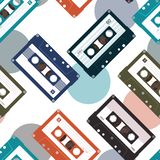 Seamless pattern with audio tapes vector illustration