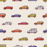 Seamless pattern with automobiles of various types - cabriolet, sedan, pickup, hatchback, SUV, minivan. Backdrop with. Modern cars of different models. Vector royalty free illustration
