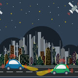 Seamless pattern with autonomous cars in the city at night time. Vector seamless pattern with autonomous cars in the city with satellite control at night time Stock Images
