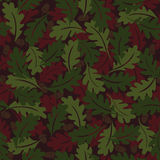 Seamless pattern. Autumn background. Green and brown oak leaves. Stock Photo