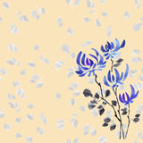 Pattern autumn blue flowers on the yellow background. Watercolor. Stock Photo