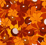 Seamless pattern with autumn chestnut leaves and c. Vector seamless pattern with autumn chestnut leaves of various colors and chestnuts on an orange background stock illustration