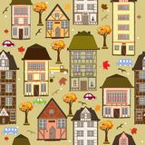 Seamless pattern with autumn city Royalty Free Stock Photography