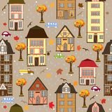 Seamless pattern with autumn city Royalty Free Stock Photos