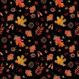 Seamless pattern autumn elements leaves cones acorns on black background stock illustration