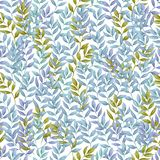 Seamless pattern of Autumn fall leaves, natural branches, colorful herbs, hand drawn in watercolor. Beauty elegant background vector illustration