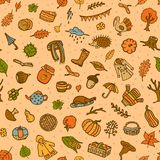 Seamless pattern with autumn fall thanksgiving cute doodle decoration elements vector illustration