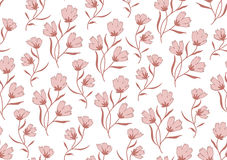 Seamless pattern autumn flowers colored in modern Stock Images