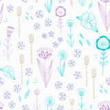 Seamless  pattern with autumn flowers, leaves and grass. Stock Photo